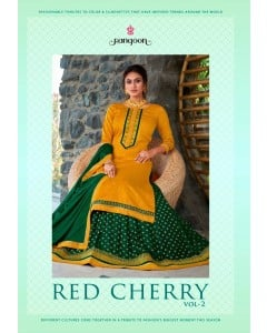 bundle of 4 top bottom with dupatta Red Cherry 2 by Rangoon