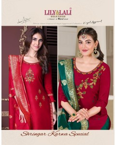 Bundle of 6 wholesale Readymade Suit Catalogue Shrinagar by Lily and Lali