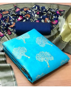 jumble of 8 dress material Minakari Banarasi Silk 1