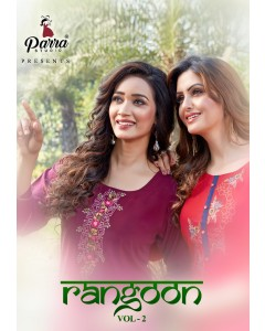 BUNDLE OF 8 WHOLESALE KURTI CATALOG Rangoon VOL 2 BY PARRA