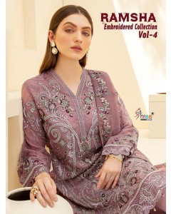 BUNDLE OF 6 WHOLSALE SALWAR SUIT CATALOG RAMSHA EMBRODERD COLLECTION VOL 4 BY Shree fabs